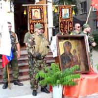 Духовенство Петербургской и Московской епархий РПЦ торжественно передало боевикам икону «Ополченная»