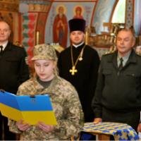 У храмі УПЦ при військово-медичному центрі Міноборони провели церемонію військової присяги та освятили стелу, присвячену загиблим героям АТО