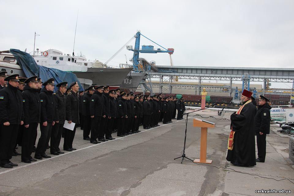 Військовий священик УПЦ КП благословив контратників Одеського загону морської охорони