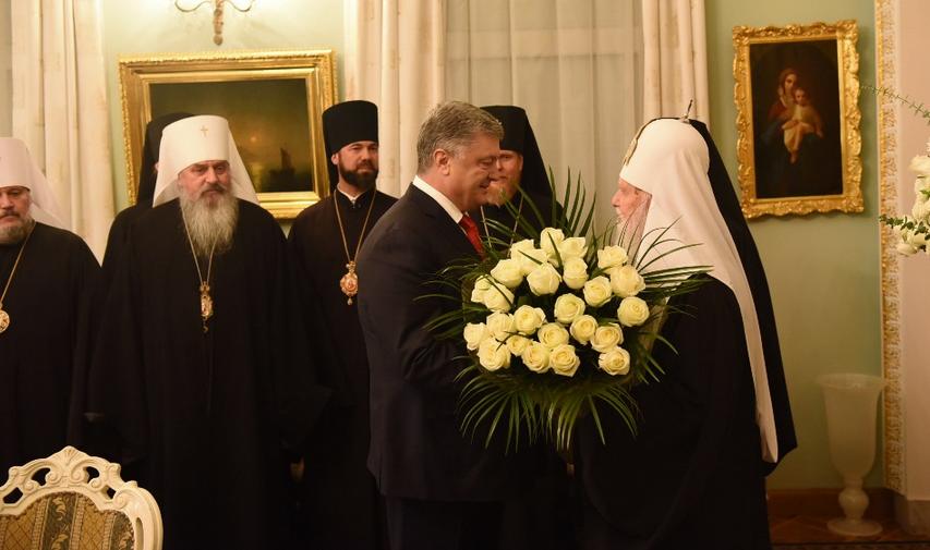 Президент привітав патріарха Філарета з 23-річчям інтронізації