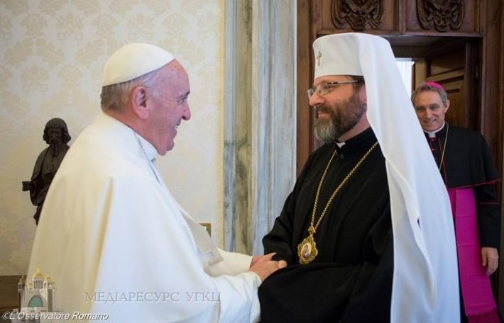 Глава УГКЦ зустрівся з папою Франциском, який запевнив про молитовну підтримку України