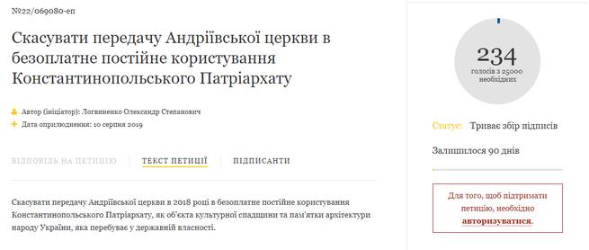 Зареєстрована петиція про скасування передачі Андріївської церкви Константинопольському Патріархату