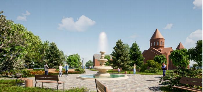 В Кременчуці біля вірменської церкви будуватимуть зону відпочинку з фонтаном для городян
